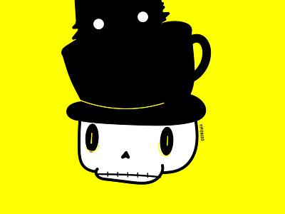 Cráneo taza gato bones branding art visionudo design ilustracion illustration concept character vector