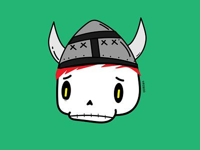 Cráneo casco vikingo craneo visionudo design ilustracion illustration concept character vector