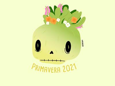 Cráneo Primavera craneo branding concept design visionudo illustration character vector ilustracion sumer