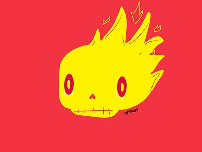 Cráneo en llamas (o algo asi) poster craneo branding design concept visionudo illustration character vector ilustracion