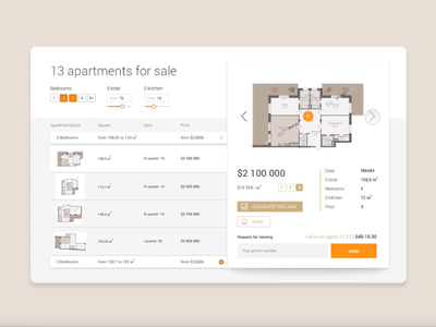 Interface design for the selection of apartment