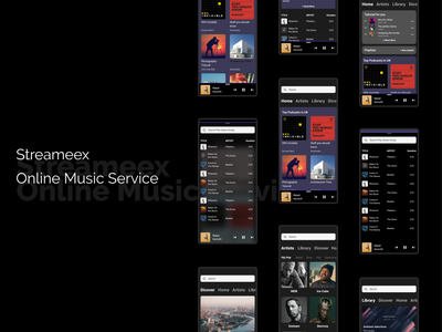 Online Music  Stream Service designer redesign. recordlabel uxui dark ui darkmode music player redesign spotify musicapp music uidesign ui design uiux flat app adobexd ux ui design