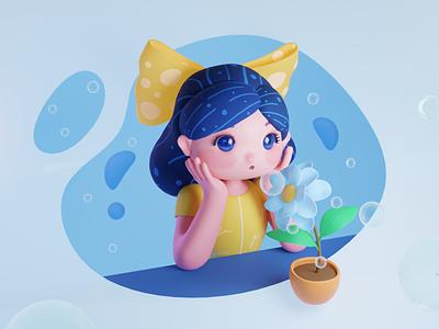 The little girl happy girl cute yendao character illustration blender 3d
