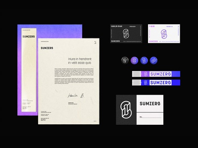 Sumzero Branding 01 gradient color mockups branding and identity business card wristband pins envelope letterhead graphic design branding design