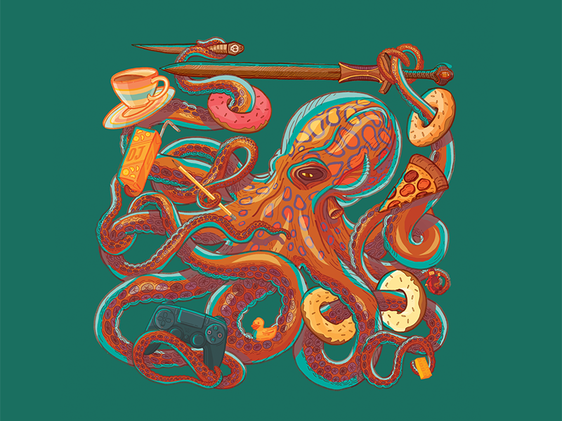 Octobud playstation doughnuts pizza octopus