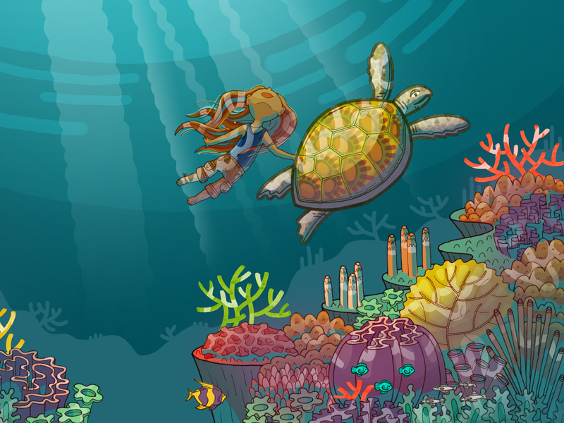 The Brave Turtle coral reef. ocean childrens book illustration kid lit turtle
