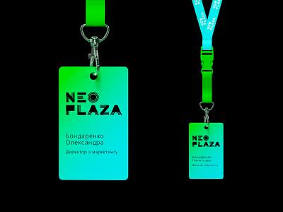 Neo Plaza identity / id card design stationery neon colors разработка логотипа id card design neo plaza logo визуальная идентификация identity branding