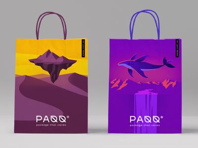 PAQQ - Paper bag paqq эко leaf logo illustration eco-pack ecofriendly craft разработка логотипа identity branding визуальная идентификация craftpack пакет paper bag