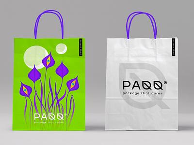 PAQQ - Paper bag illustration craft эко разработка логотипа logo branding identity визуальная идентификация paper bag leaf leaf logo craftpack
