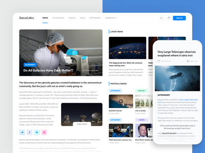 AstroCoffee - science news exploration mobile space science grid news colorful website web design ui user-interface