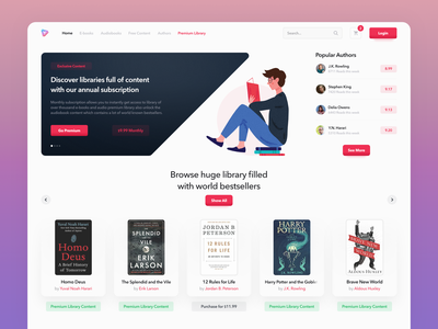 Online library - website bookstore landing page library books user experience ux colorful website web design ui user-interface