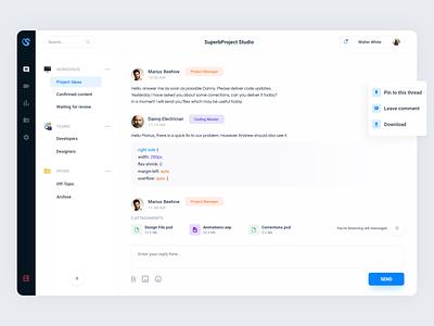 Chatroom - Project conversation web team conversation slack chatroom chat colorful app design ui user-interface