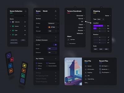 3D Software - UI Elements dark mode 3d software components elements dark ux colorful app design ui user-interface