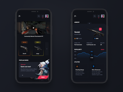 Gaming mobile app - Valorant theme iphone mobile colorful app design ui user-interface game games valorant mobile app gaming