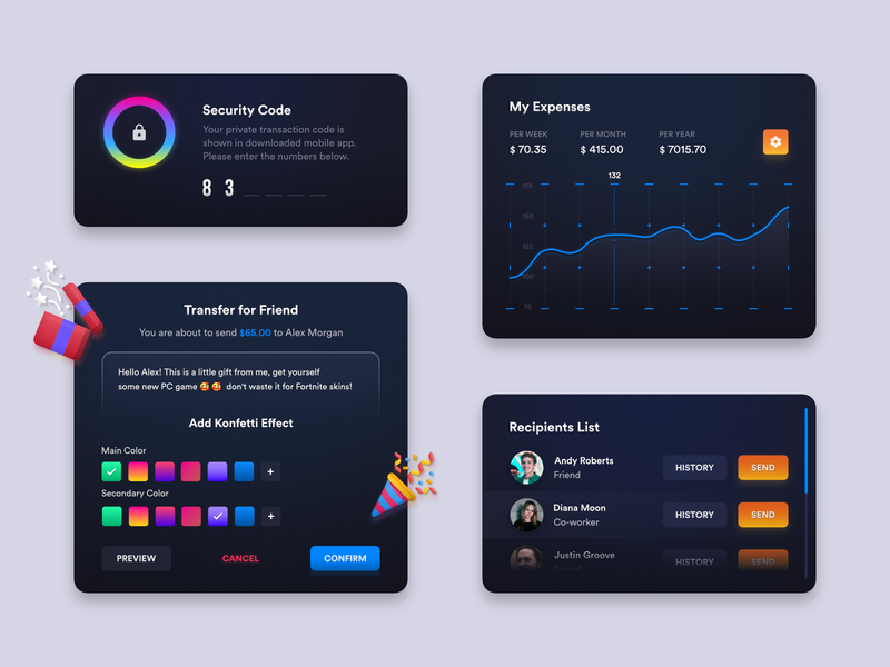 Funds Management App components elements components management money funds user experience dashboard ux colorful web app design ui user-interface