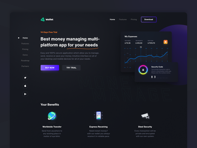 Landing Page for funds management app homepage landing page landing landingpage management finances user experience colorful website app web design ui user-interface