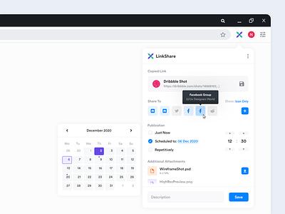 LinkShare browser addon concept links upload calendar colorful link share ux website web app design ui user-interface