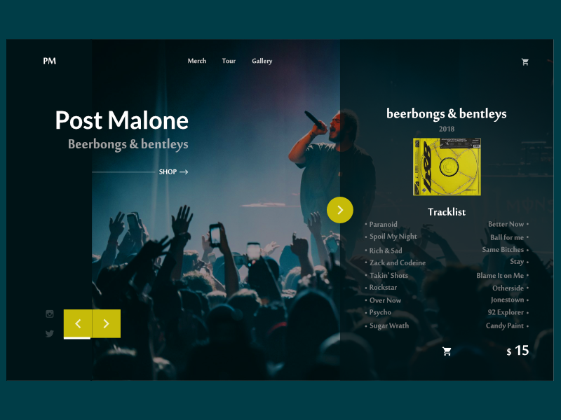 Post Malone Landing Page by Piotrek Kosmala on Dribbble
