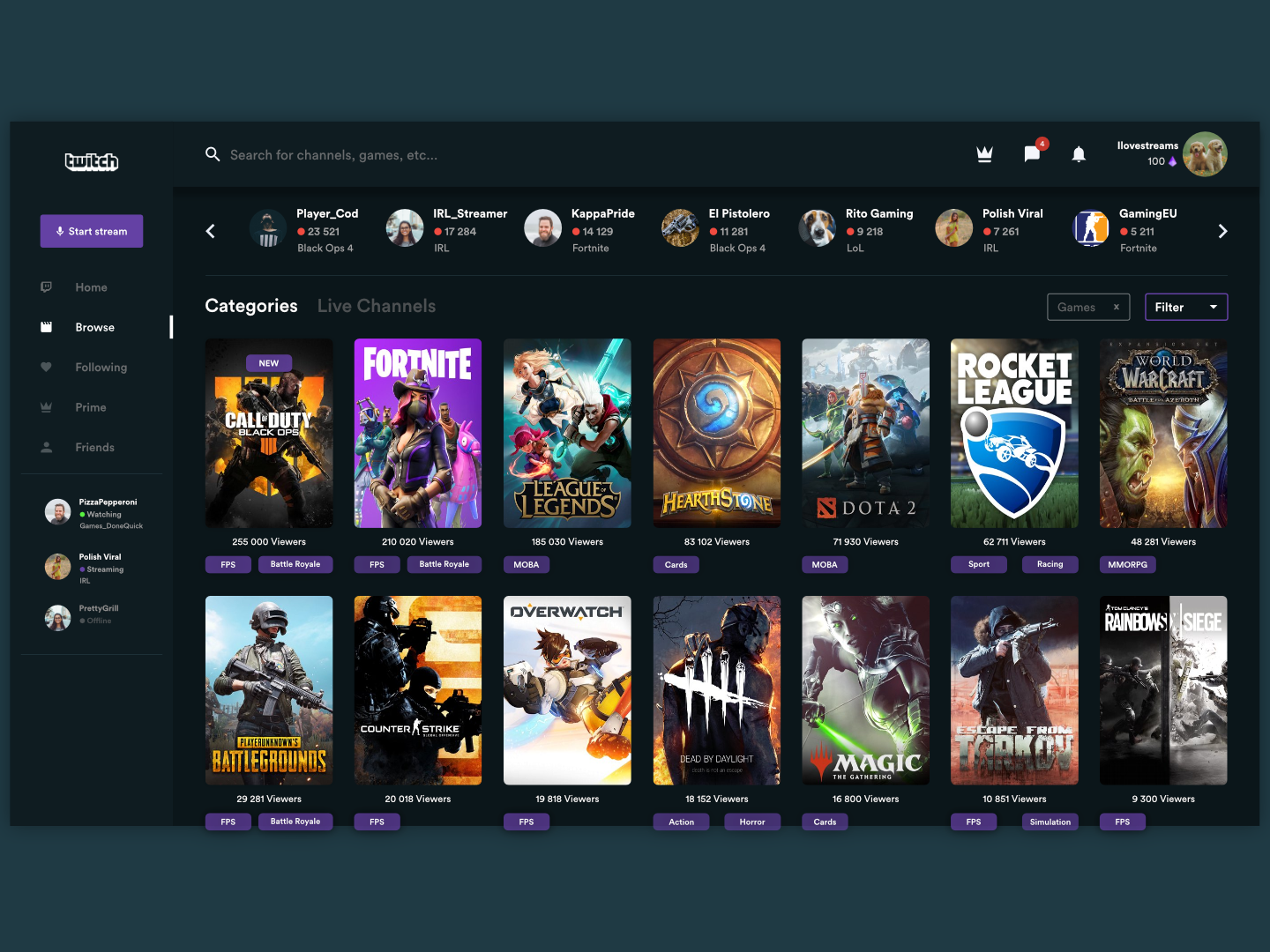 Twitch.tv beautified browsebig