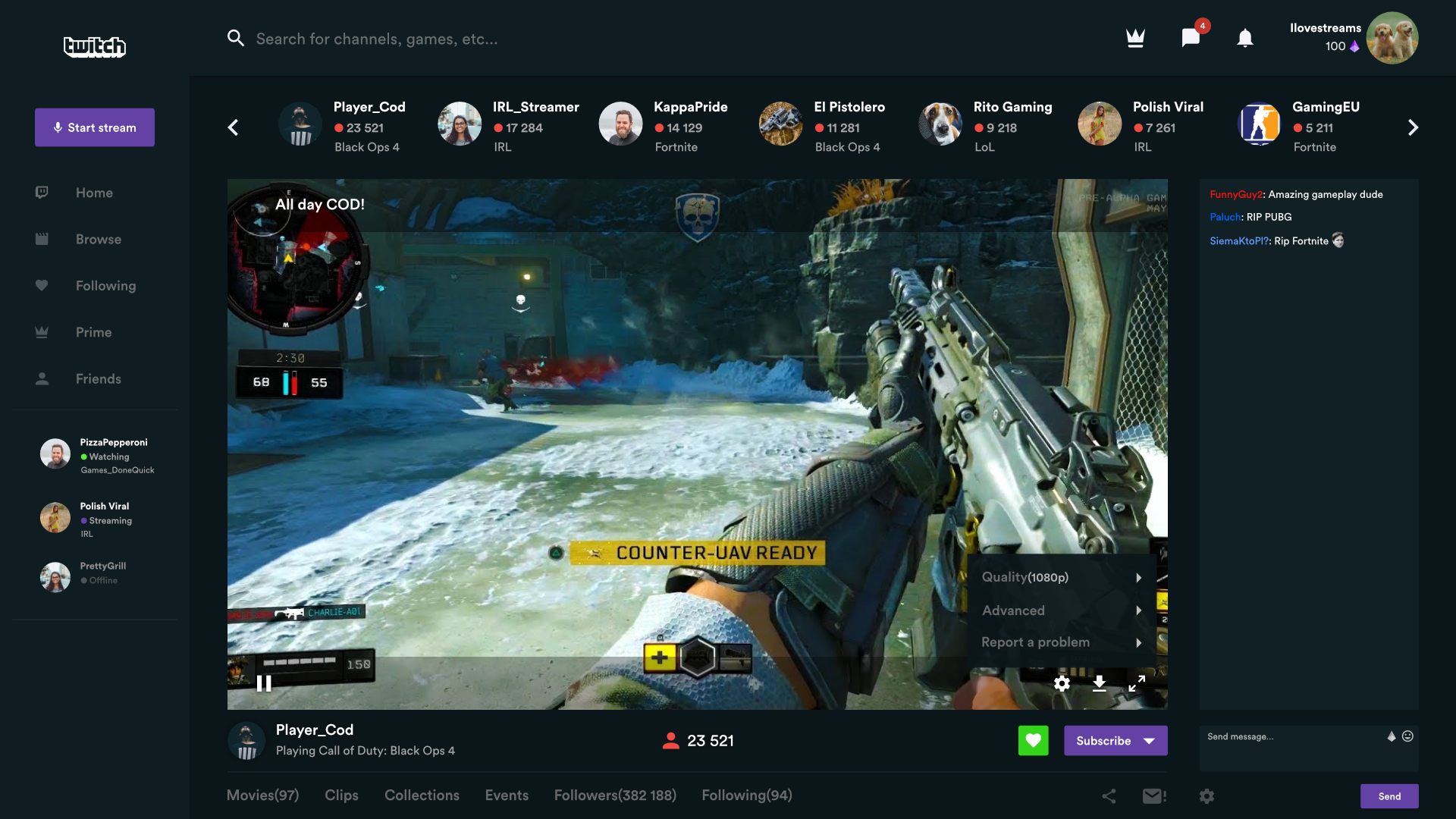 Twitch.tv beautified videoplay