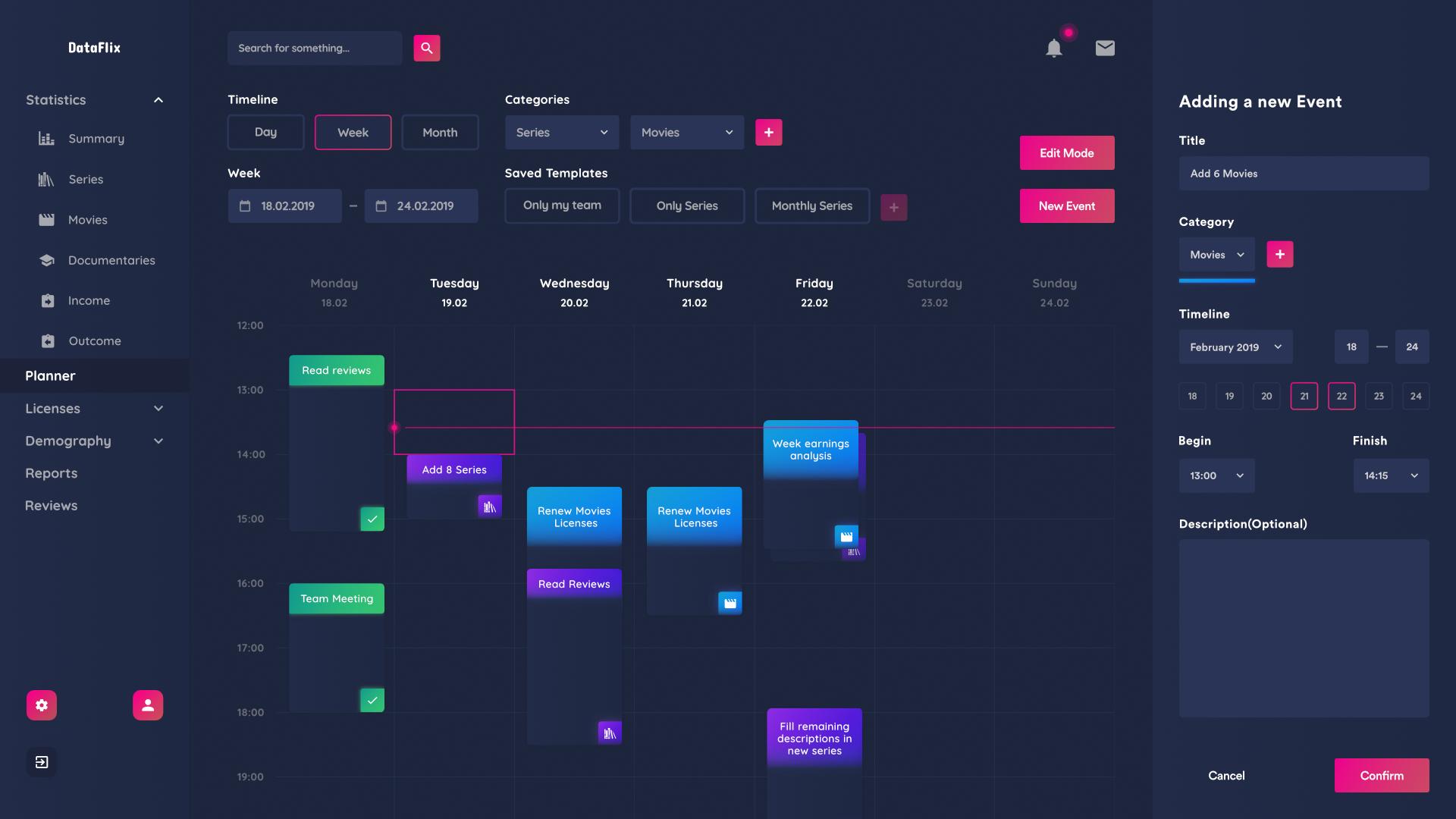 Dataflix planner