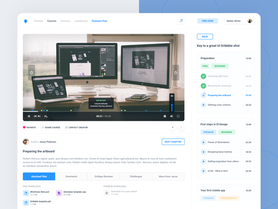 Online learning platform - video courses video player user experience ux timeline video tutorial tutorial course video online learning website web app design ui user-interface