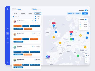 Find a freelancer/worker - Map exploration uxdesign ux ui design filters browsing localization list freelancers work map colorful web app design ui user-interface