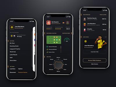 FManiac - Football manager mobile app football app dark theme ui design football manager soccer football dark ux iphone mobile app design ui user-interface