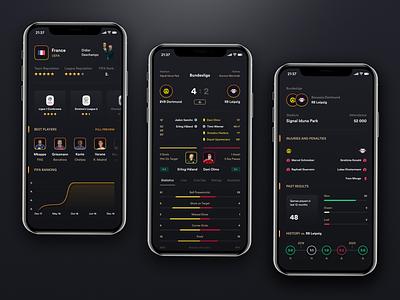 FManiac - Football manager mobile app p2. dark dark theme mobile app mobile soccer fm manager football iphone user experience ux app design ui user-interface