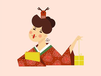 Gift Picker 1 illustration jing christmas japan woman