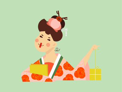 Gift Picker 2 jing woman chinese christmas illustration