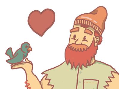 Lumberjack Lover procreate heart bird axe lumberjack valentines love character illustration