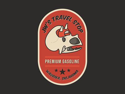 JW's Travel Stop badge gas station gas dinosaur oklahoma branding illustration