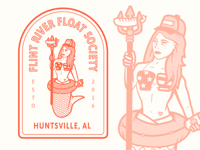 Flint River Float Society branding character emblem river mermaid alabama badge illustration