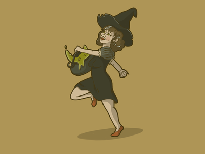 Brewing Trouble magic halloween witch character illustration