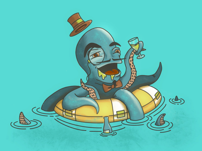 Daddy's Fancy Boi monocle charcter sticker posh fancy illustration octopus