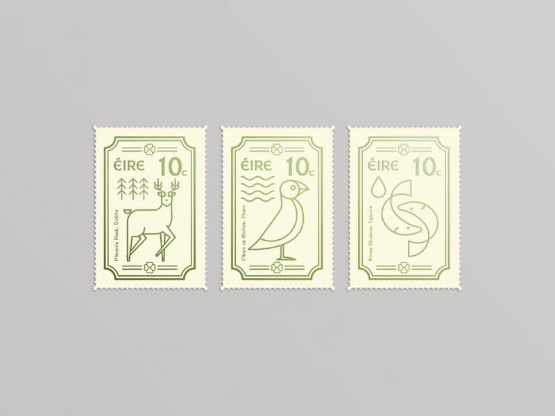 Irish Stamps irish illustration foil minimal design animal stamps line art