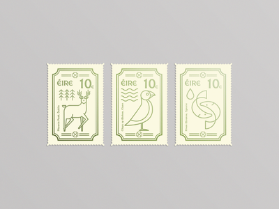 Irish Stamps irish illustration foil minimal design animal stamps line art