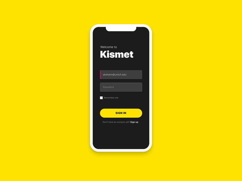 Daily UI #001 - Login for Kismet | Search by Muzli