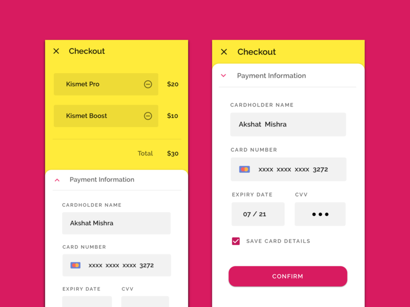 Daily UI #002 - Checkout for Kismet by Akshat Mishra on Dribbble