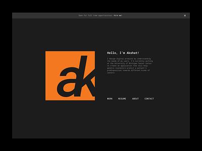 Daily UI #003 - Landing Page frontend design css html web black  white orange is the new black orange brutalism ux uiux akshat ak logo portfolio monospace roboto app 003 ui daily
