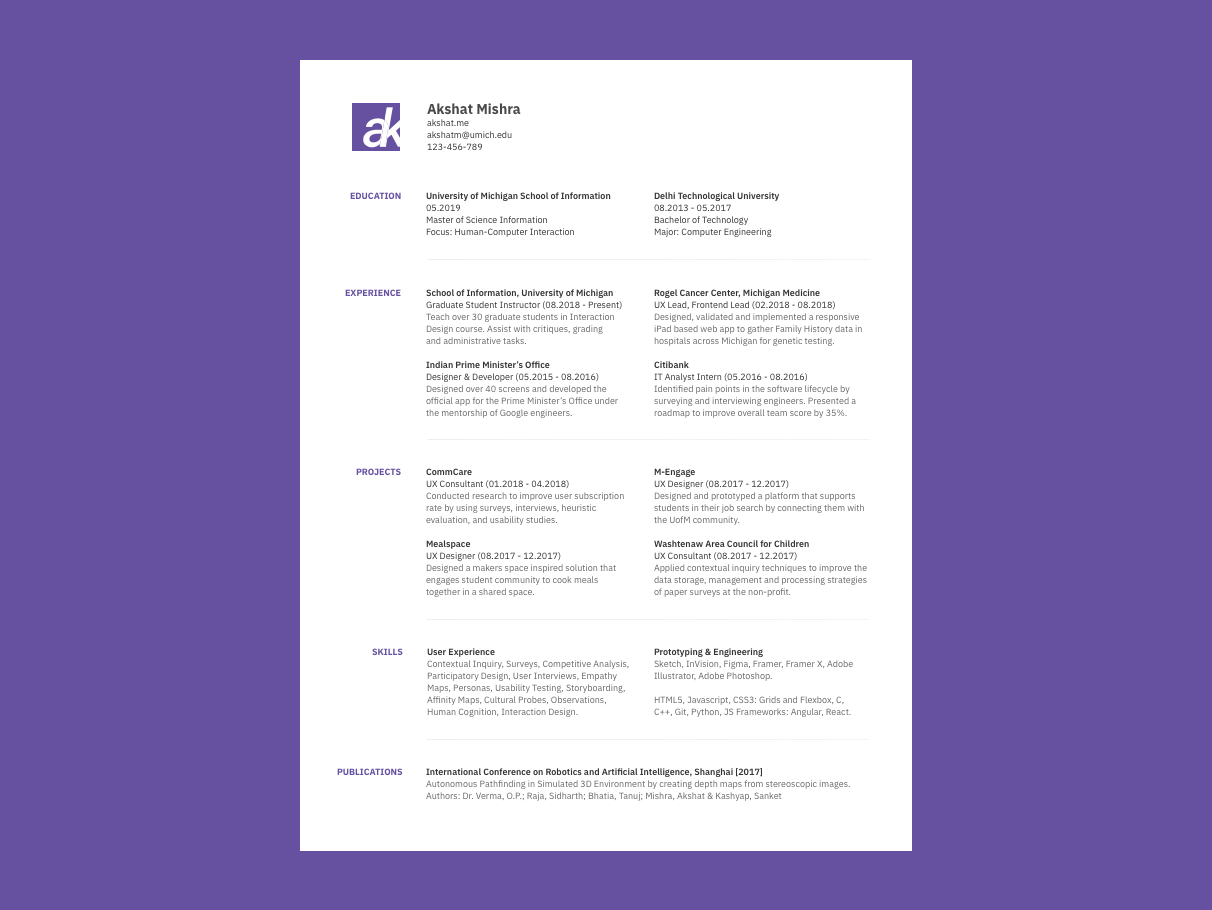 Ux Resume Template By Akshat Mishra On Dribbble