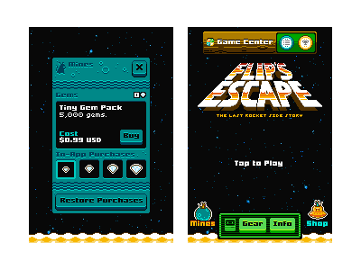 More Flip's Escape UI flips escape the last rocket spacemouse ami pixel 8bit