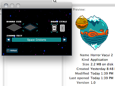 Finishing Touches horror vacui 8bit game pixel sound test options osx ios easter egg