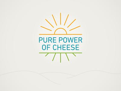 Pure Power Cheese field identity logo cheese sun