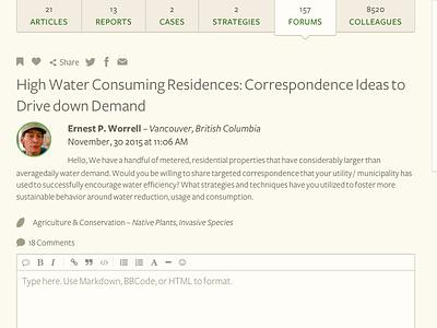 Forum Detail social marketing profile layout comments forum environmental website