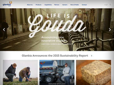 Glanbia Foods Landing Page layout interface food cheese website