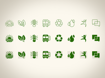CBSM Icons social marketing illustration discussion health and wellness water reduction waste transportation energy conservation agriculture iconography icons