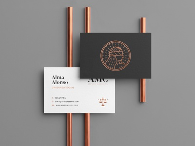 AMC Business Cards stationery lawyer justice symbol line icon logo brand branding brand identity identity business card