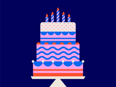 5th Birthday Illustration designer poster design red blue pink bakery poster birthday cake symbol graphic design design icon illustrator flat design flat illustration vector
